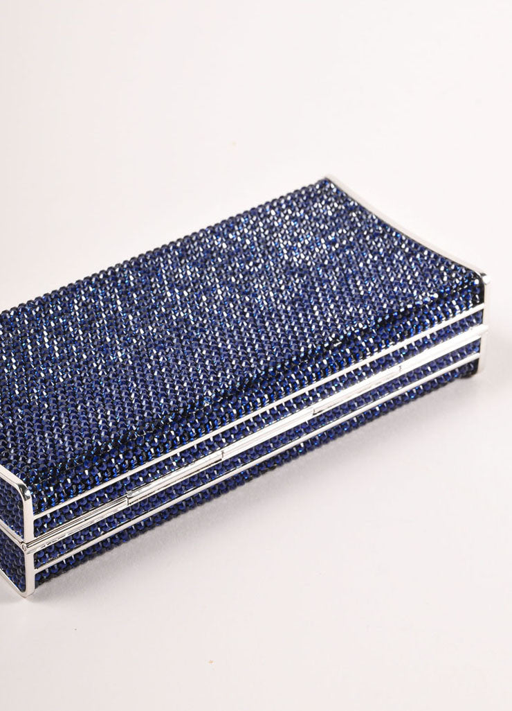 Judith Leiber Navy and Silver Rhinestone Small Rectangular Minaudiere Clutch Bag Bottom View
