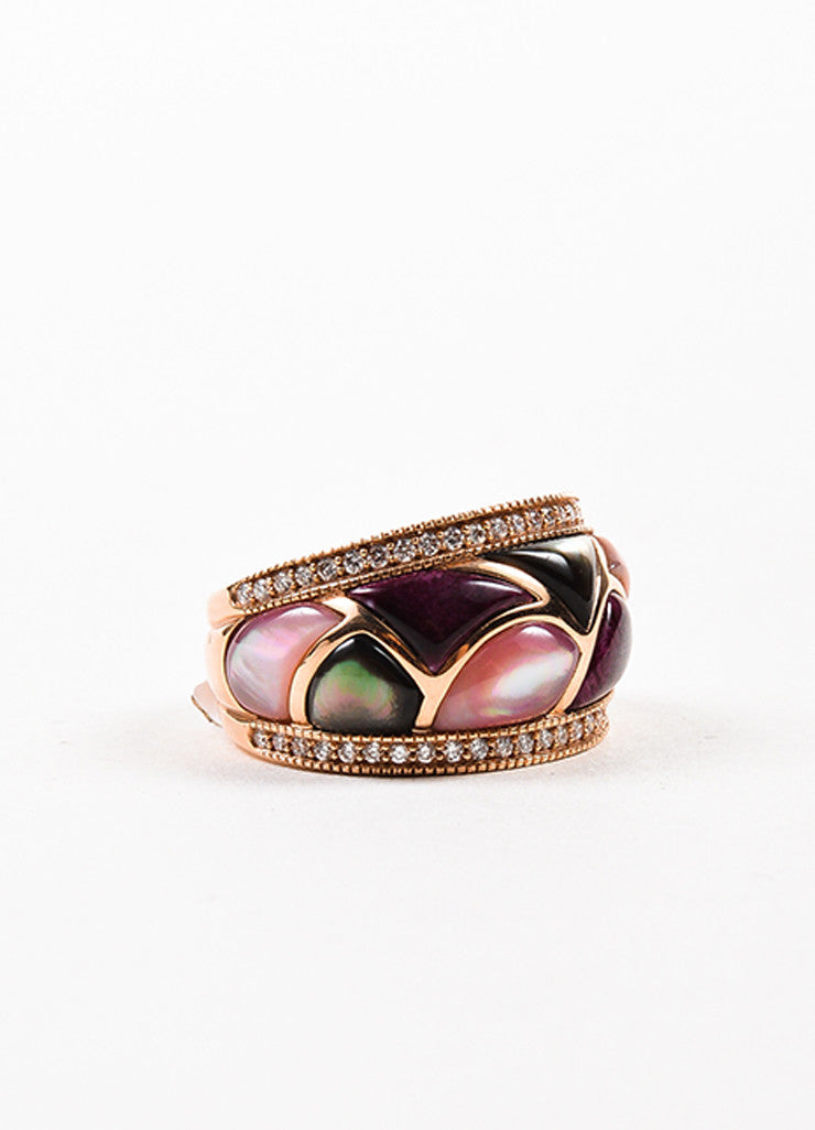 Kabana 14K Rose Gold Pink Mother Of Pearl Diamond Mosaic Ring Sideview