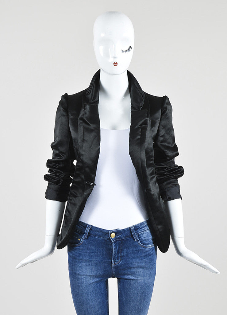Black Lanvin Woven Silk Structured Seamed Jacket Frontview