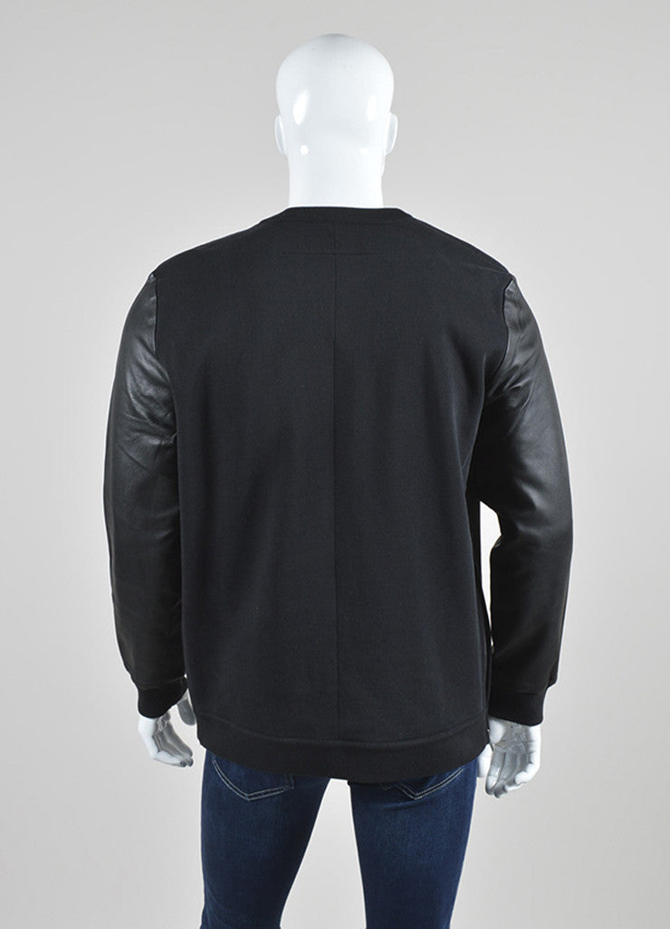 Men's Black Givenchy Leather Sleeve Zip Detail Pullover Sweatshirt Back