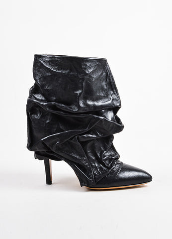 Black Maison Martin Margiela Leather Crinkle Fold Over Boots Side