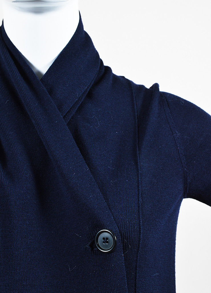 Maison Martin Margiela Navy Blue Wool Knit Double Breasted Cardigan Jumper Detail