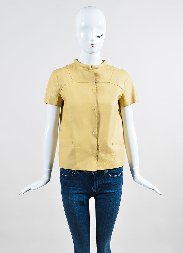 Beige Marni Leather Round Collar Short Sleeve Button Up Top Frontview 2