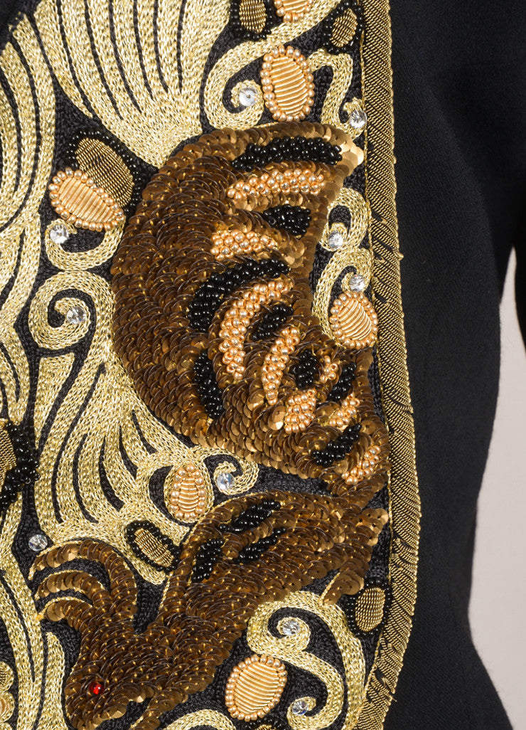 Matsuda Black and Gold Wool Embroidered Sequin Blazer Jacket Detail