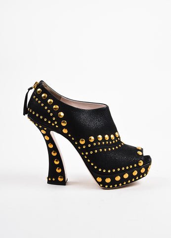Miu Miu Black and Gold Toned Leather Studded Peep Toe Zipped Ankle Booties Sideview
