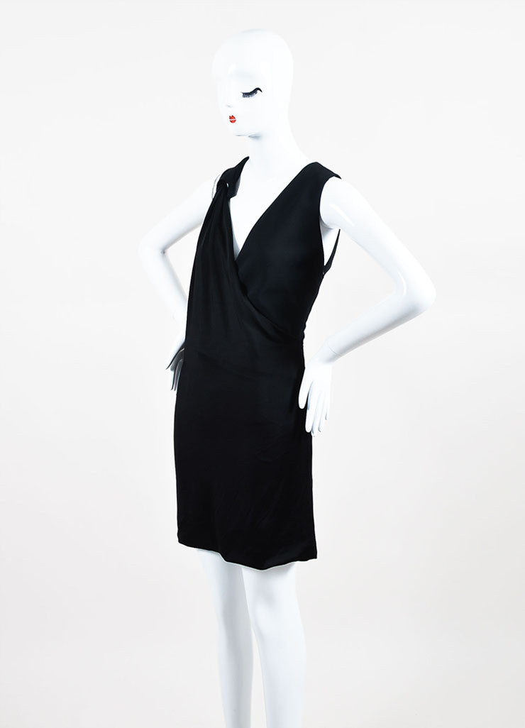 Mugler Black Jersey Draped Plunging V-Neck Sleeveless Cocktail Dress  Sideview