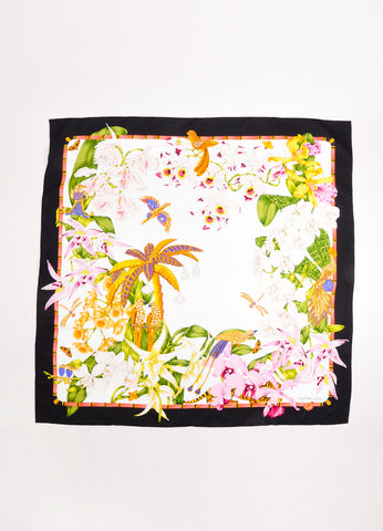 Cartier Multicolor Silk Twill Tropical Floral Print Scarf Front