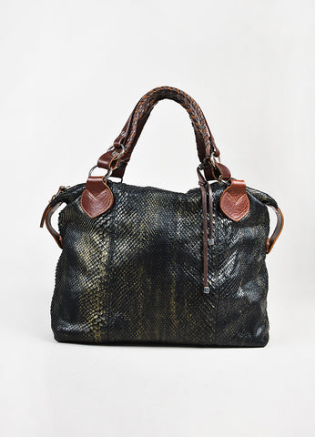 "Pauric Sweeney Gunmetal Grey & Brown Python Leather ""Overnight"" Bag Front"