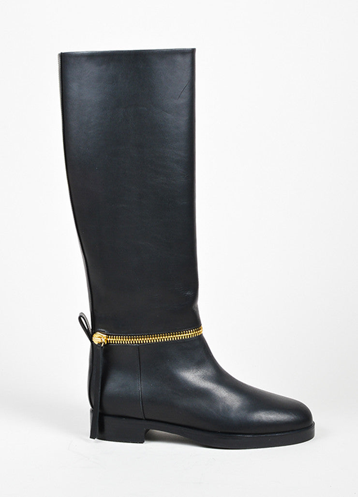"Black and Gold Toned Leather Pierre Hardy ""Tom"" Knee High Boots Sideview"