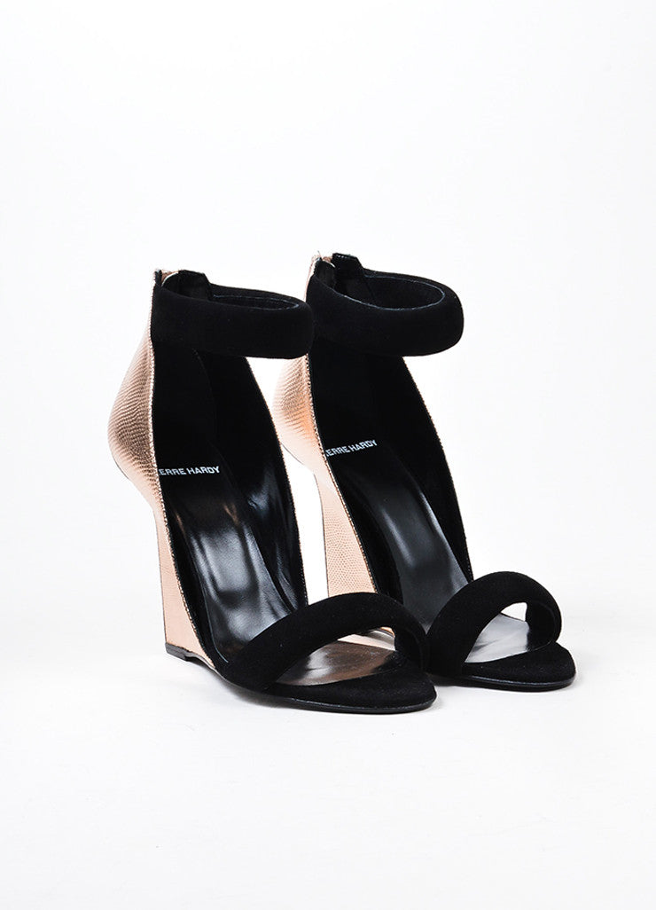 "Pierre Hardy Black and Rose Gold Leather ""Amanda"" Wedge Sandals Frontview"