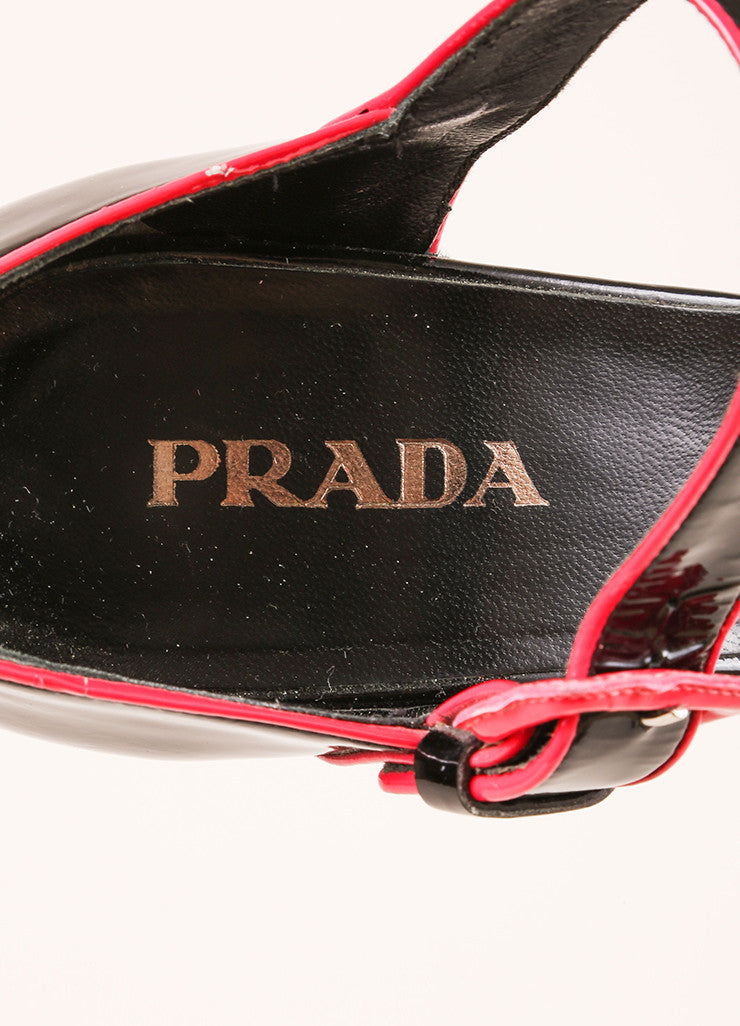 Prada Black and Hot Pink Patent Leather Sandal Heels Brand