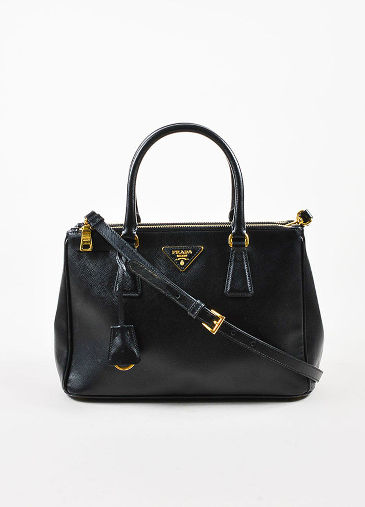 "Prada Black Saffiano Leather ""Small Double Zip Tote"" Bag Frontview"