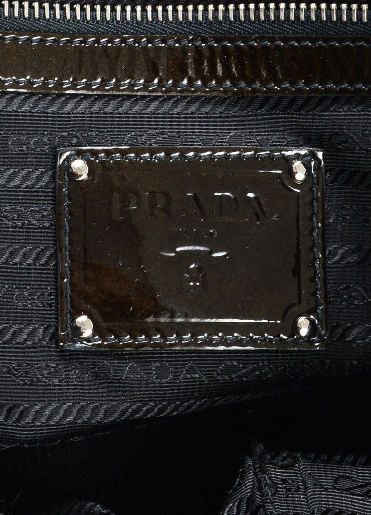 "Prada Olive Green and Black Patent Leather Ombre ""Sfumato"" Satchel Bag Brand"
