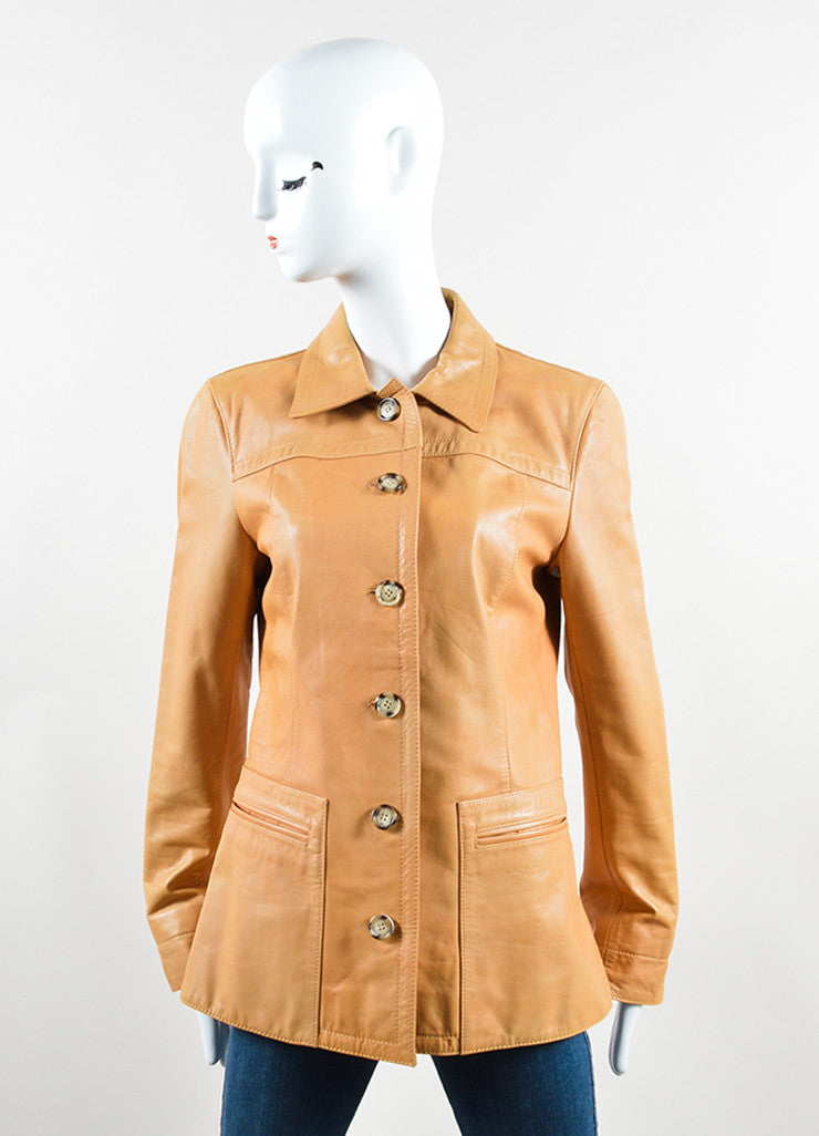 Prada Tan Leather Long Jacket Frontview 2