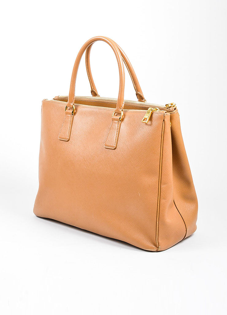 "Prada Tan Leather ""Saffiano Lux Gardener's"" Dual Compartment Tote Bag Sideview"