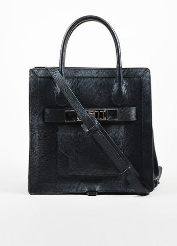 "Black Proenza Schouler Textured Leather Structured ""PS11"" Tote Bag Frontview"