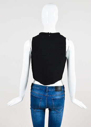 Proenza Schouler Black Crepe Ruched Rolled Neck Sleeveless Crop Top Backview