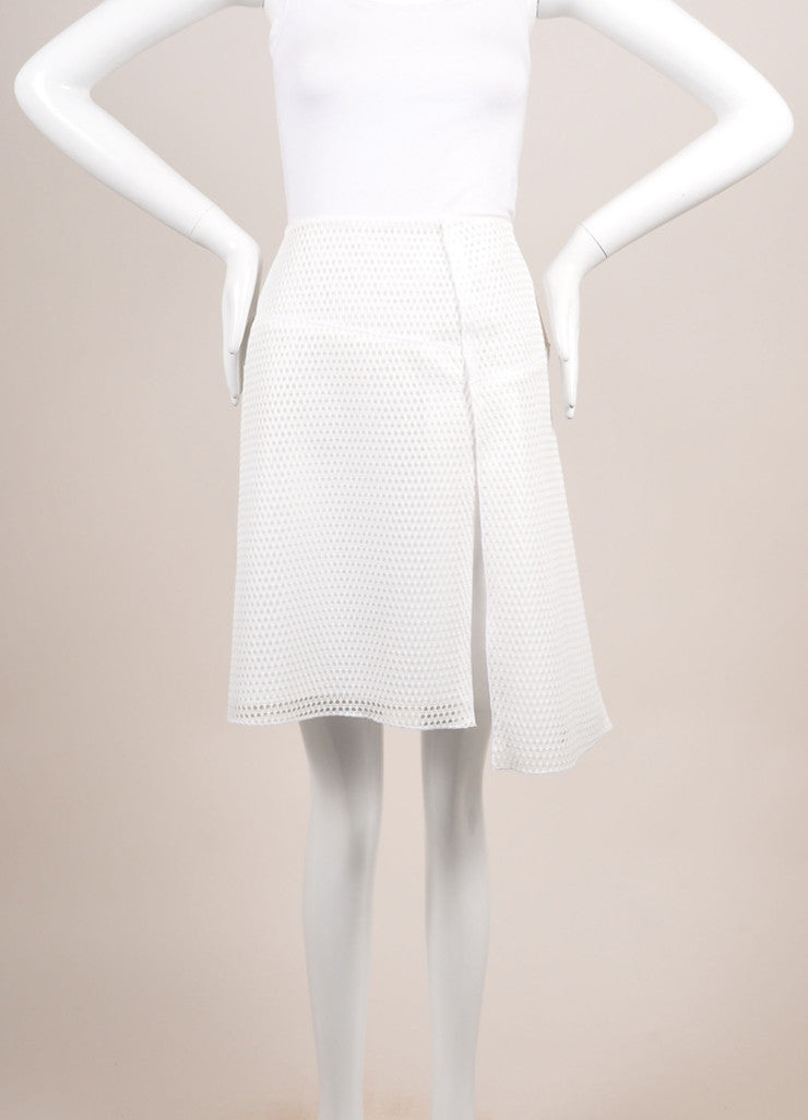 "Reed Krakoff New With Tags White Knit Mesh Fishnet ""Honeycomb"" Skater Skirt Frontview"