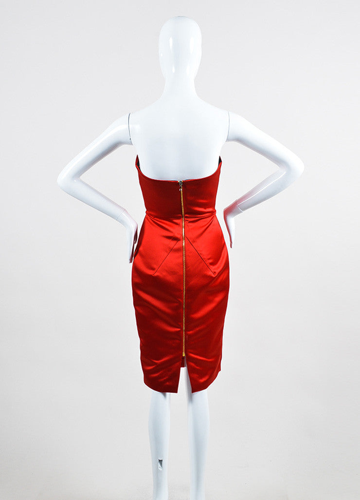 "Red Satin Roland Mouret ""Esther"" Cocktail Dress Back"