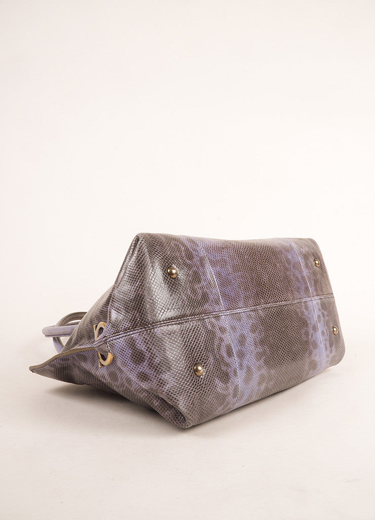 Salvatore Ferragmo Purple and Brown Lizard Leather Top Handle Shoulder Bag Bottom View