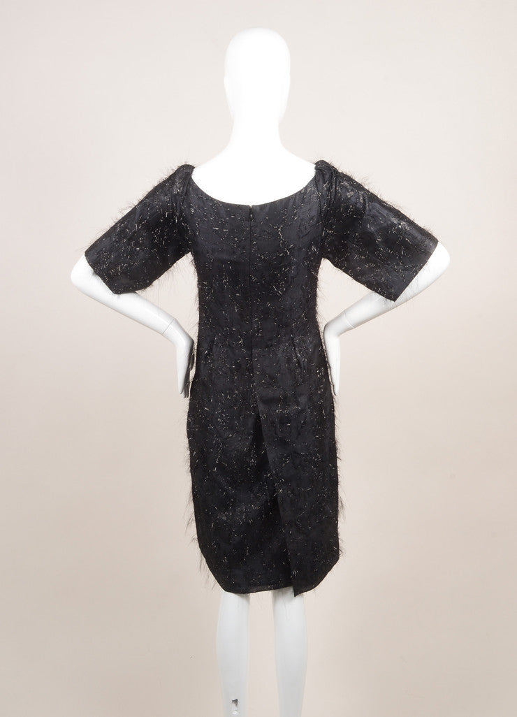 "Sonia Rykiel New With Tags Black Silk Metallic Thread ""Voile"" Dress Backview"