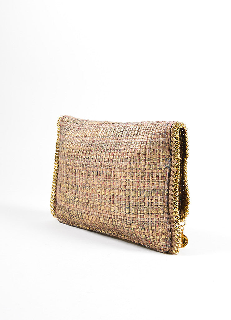 "Stella McCartney Metallic Gold and Brown Tweed ""Boucle Falabella"" Foldover Clutch Bag Sideview"