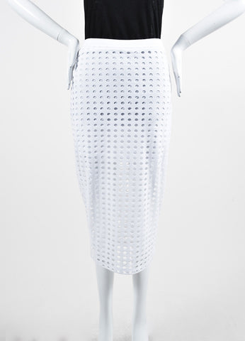White T By Alexander Wang Cut Out Stretch Midi Pencil Skirt Frontview