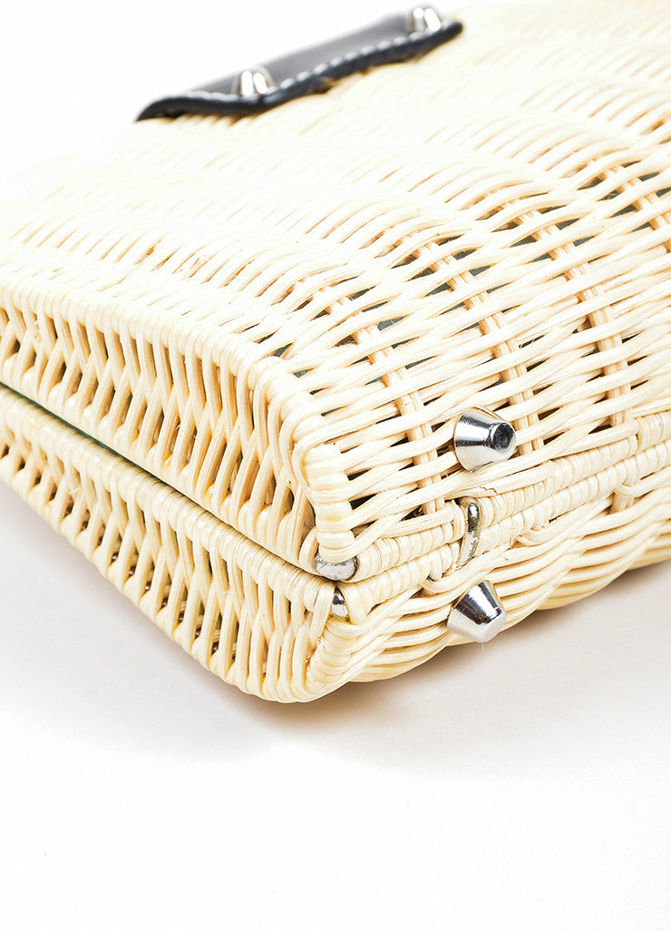 "Beige Woven Wicker and Black Leather Tiffany & Co. ""Blaine"" Convertible Clutch Bag Detail"
