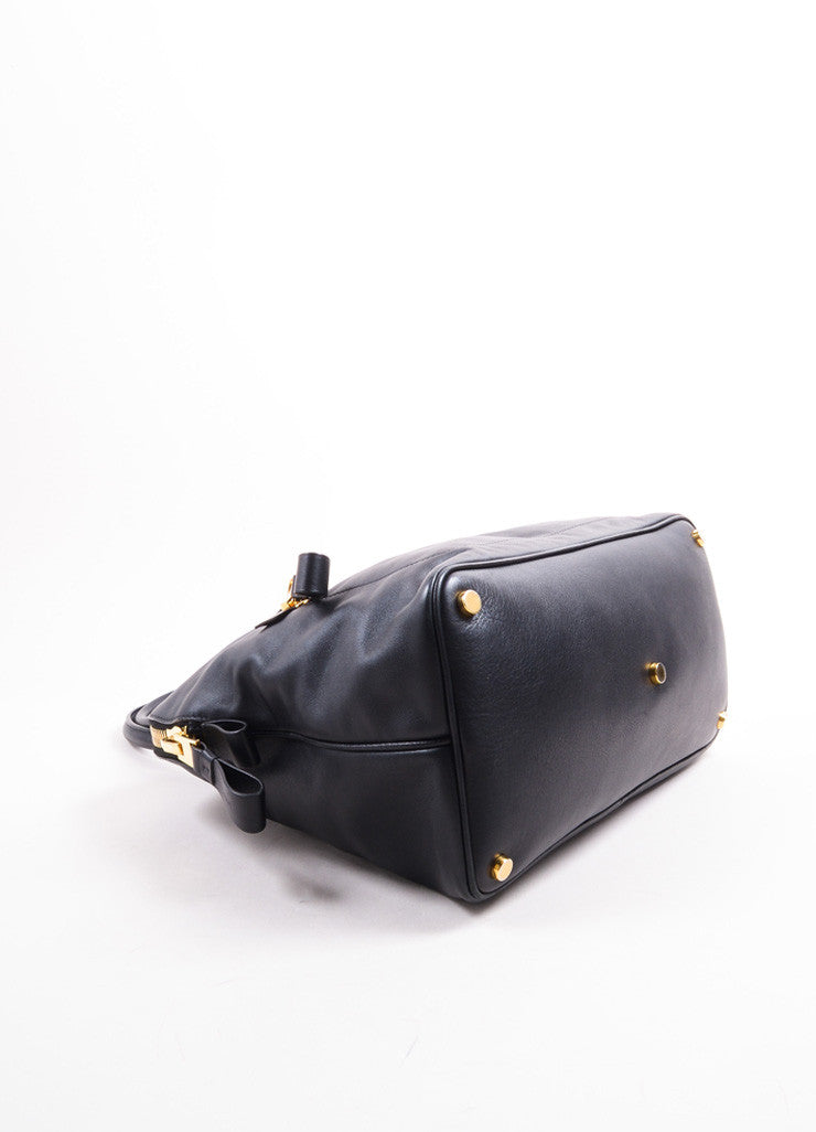 Tom Ford Black Leather and Gold Toned Hardware Bowler Bag Bottom View