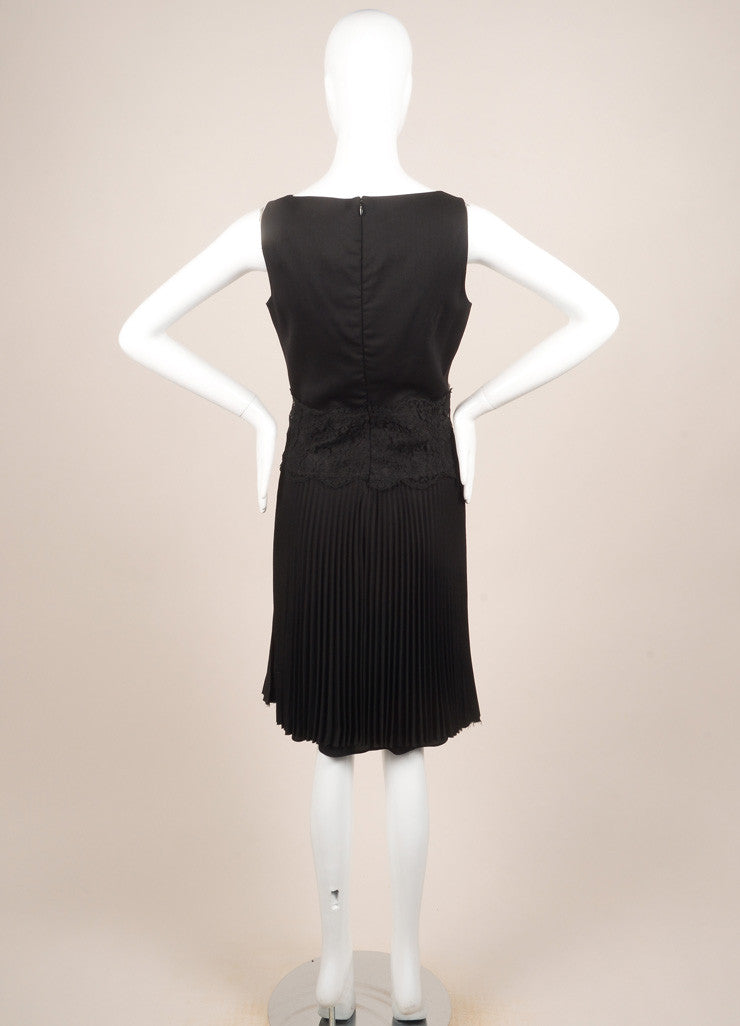 Valentino Techno Couture Black Wool Sleeveless Floral Lace Pleated Dress Backview