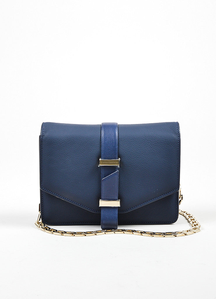 Navy Blue Victoria Beckham Leather Mini Chain Satchel Bag Frontview