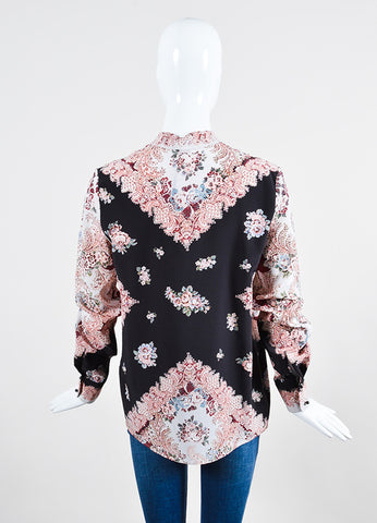 Vilshenko Light Multicolor Silk Floral Paisley Long Sleeve Blouse Backview