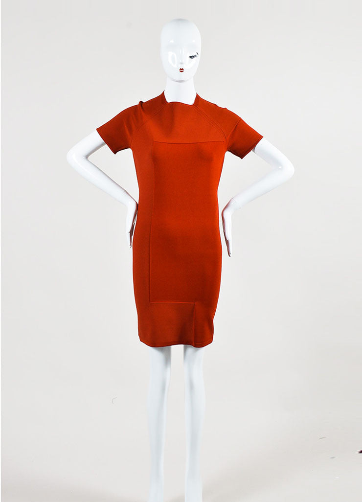 í_í_Œ¢í_?çí_í_Alexander Wang Rust Red Stretch Knit Exposed Seam Short Sleeve Bodycon Dress Frontview