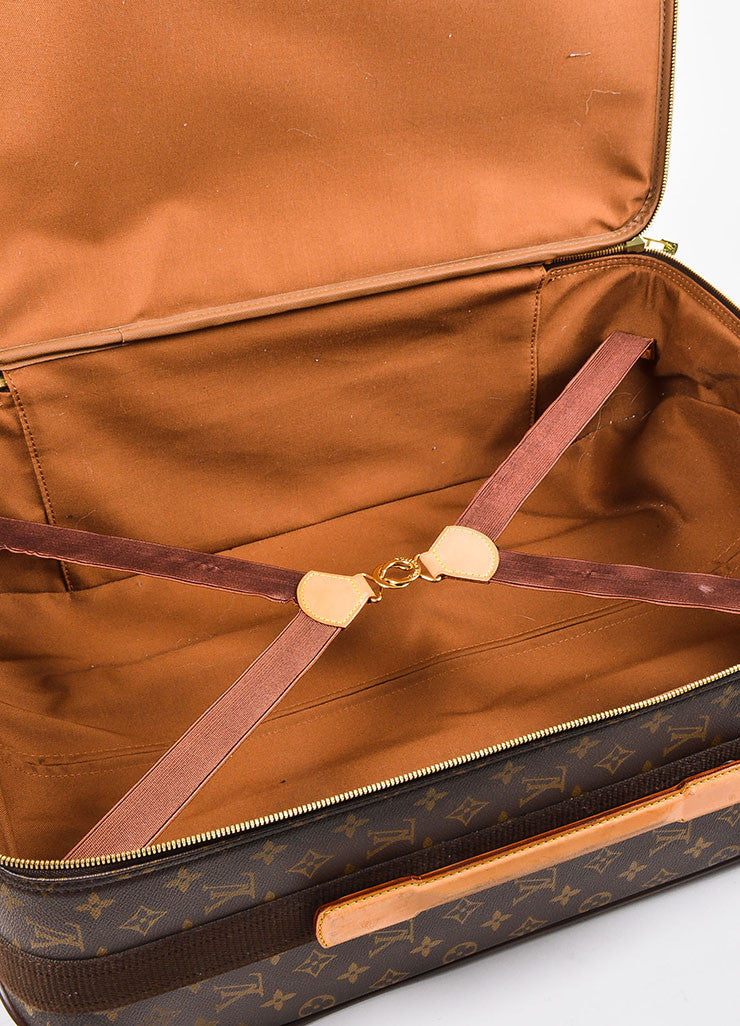 "Louis Vuitton Brown and Tan Coated Canvas Leather Trim ""Pegase 60"" Rolling Luggage Interior 2"