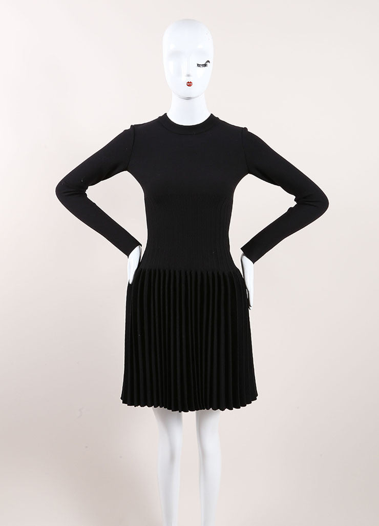 Alaia New With Tags Black Wool Knit Long Sleeve Pleated A-Line Sweater Dress Frontview