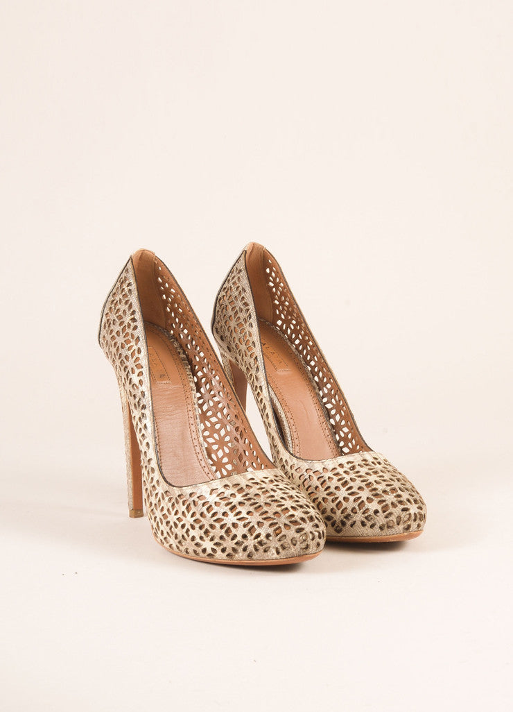 Alaia Taupe Lizard Leather Round Toe Cut Out Pumps Frontview