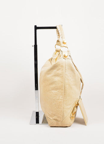 "Balenciaga Beige Leather ""Giant 21 Day"" Hobo Bag Sideview"