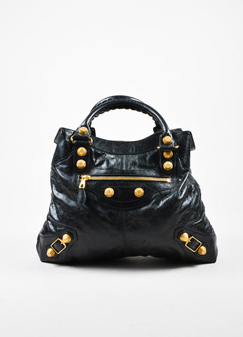 "Balenciaga Black and Gold Toned Leather ""Giant Brief"" Tote Bag Frontview"