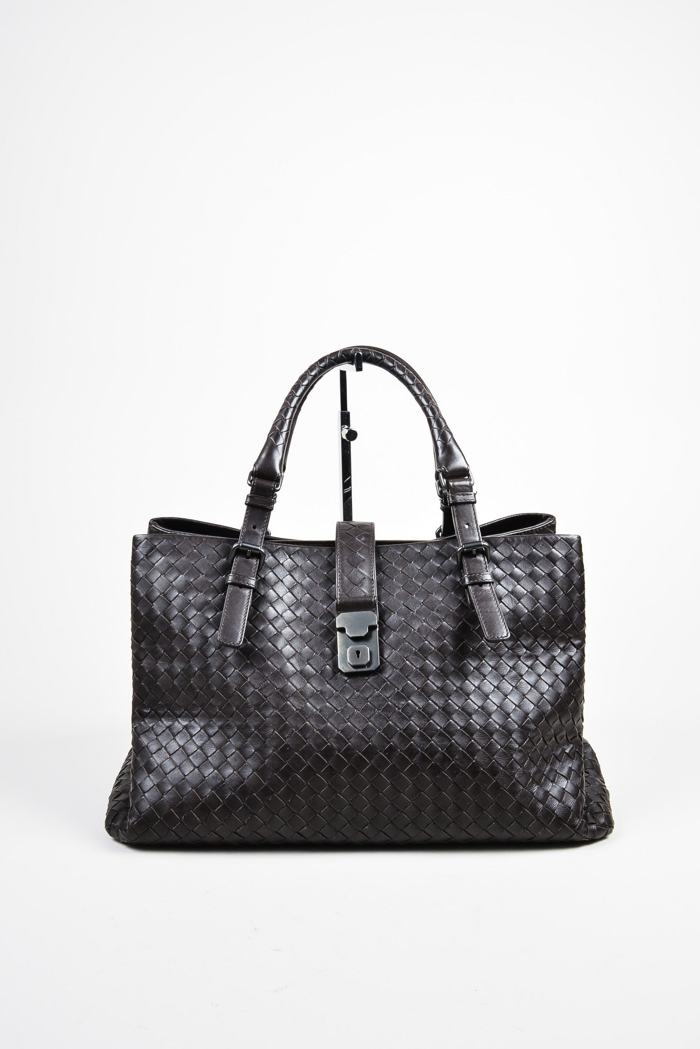 "Brown Bottega Veneta Calf Leather Intrecciato ""Roma"" Tote Bag Frontview"