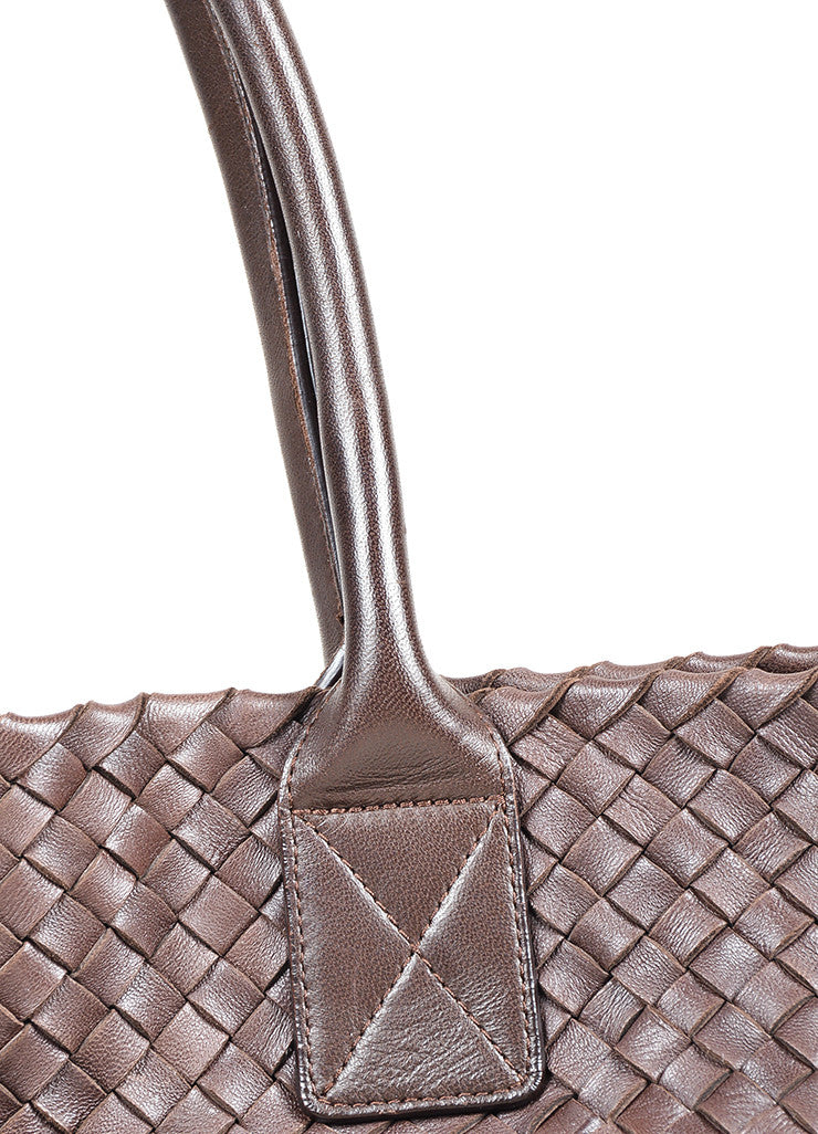 "Brown Leather Bottega Veneta ""Intrecciato Cabat"" Woven Medium Tote Bag Detail 2"