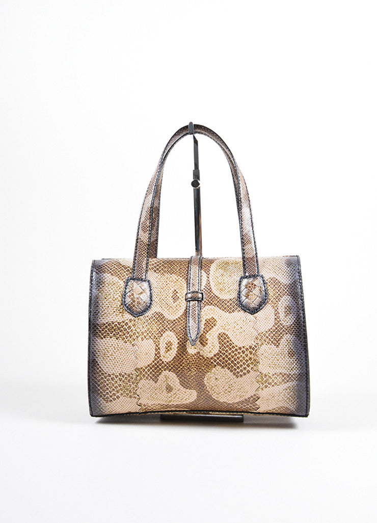 Bottega Veneta  Brown Water Snake Leather Structured Handbag Frontview