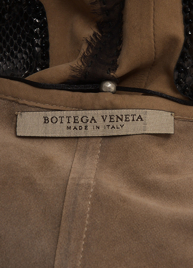 Bottega Veneta New With Tags Grey, Brown, And Black Silk Trim Beaded Leather Vest Tag