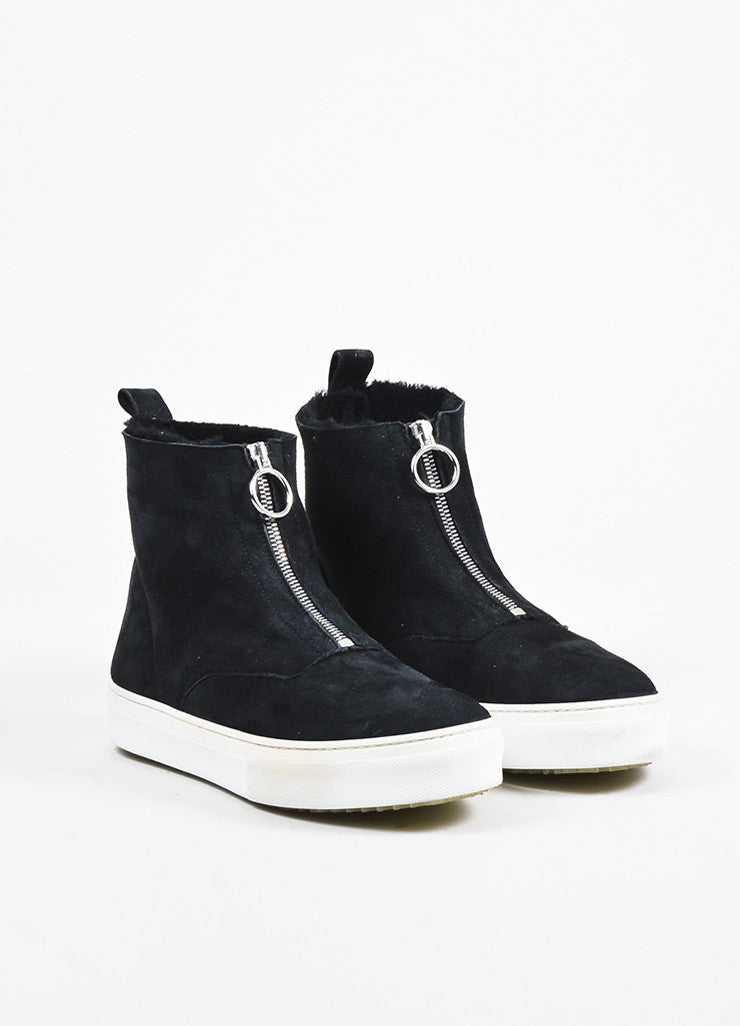 Celine Black Suede Shearling Lined Zipper High Top Sneaker Boots Frontview