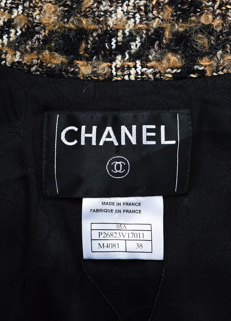 Black, Brown, and White Chanel Tweed 'CC' Button Jacket Brand