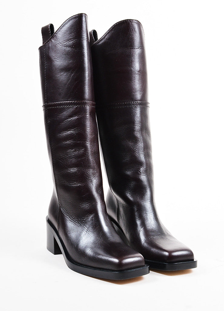 Chanel Brown Leather Chunky Heel 'CC' Logo Western Style Boots Frontview