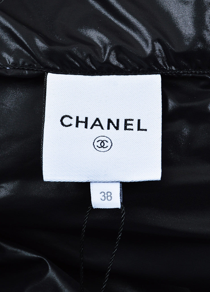 Chanel Blue, Black, and Cream Orlyag Fur Collar Textured Bomber Jacket Brand