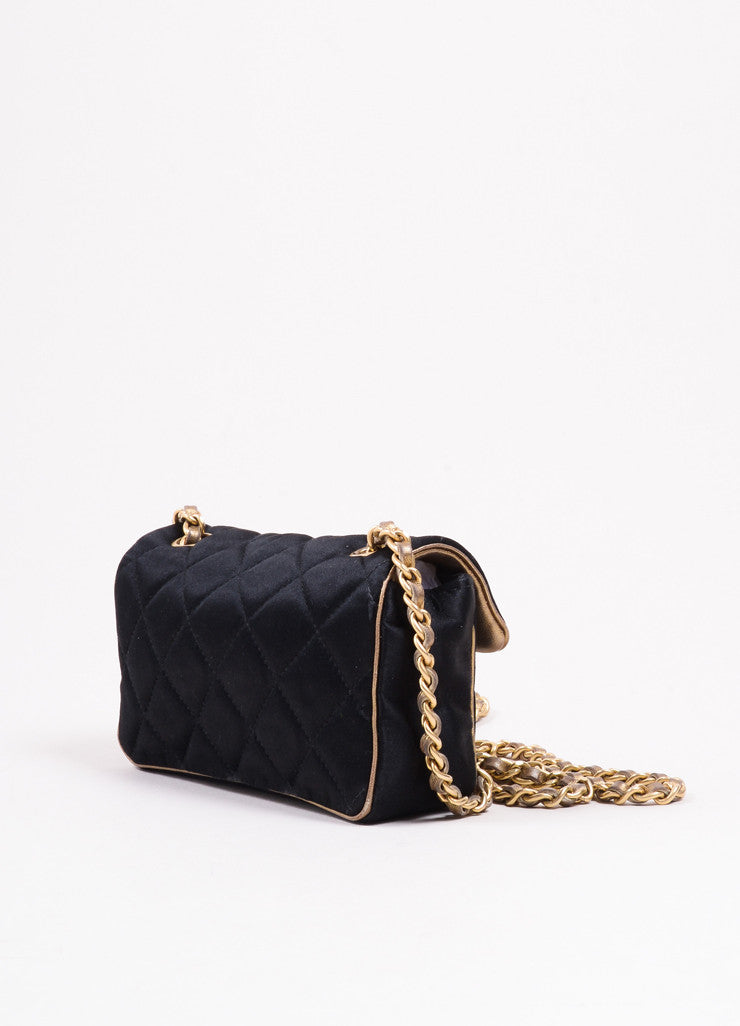 "Chanel Black and Gold Toned Satin Quilted Chain Strap ""CC"" Flap Cross Body Bag Sideview"
