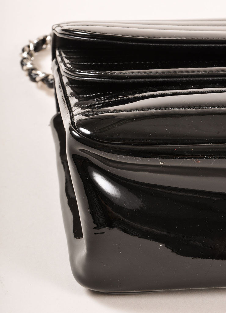 "Chanel Black and Silver Toned Quilted Patent Leather Chain Strap ""CC"" Flap Bag Detail"