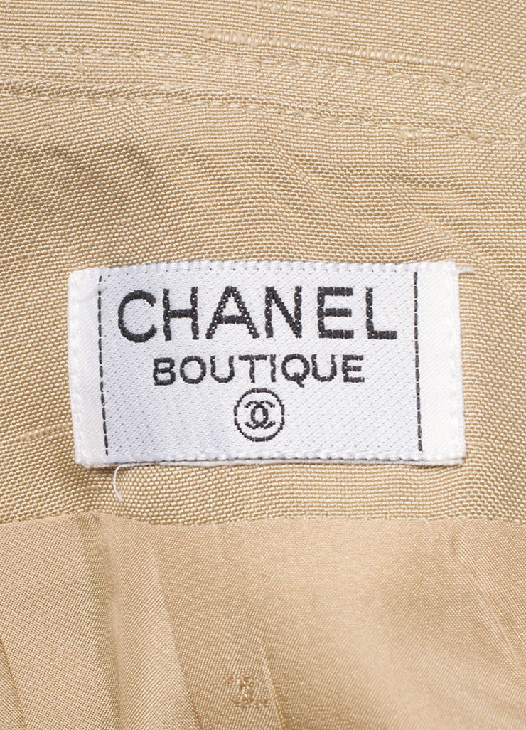 Chanel Khaki Gold Toned Coin Button Skirt Suit Brand