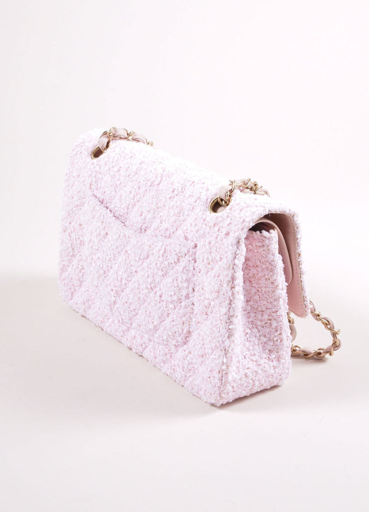 "Chanel Light Pink and Gold Toned Quilted Tweed Chain Strap ""CC"" Double Flap Bag Sideview"